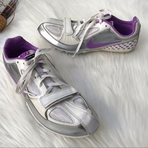 Nike Zoom Rival S Track Shoes White Purple Size 8